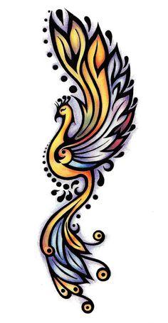 phoenix tattoo colored plan