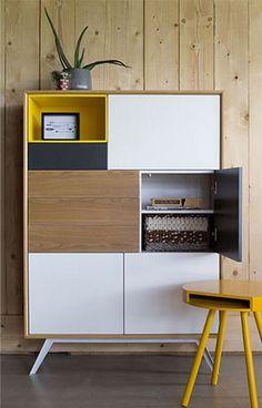 Buffet ALPS jaune 5 portes 1 tiroir Cabinet Furniture, Home Decor Furniture, Furniture Makeover, Cool Furniture, Furniture Design, Small Apartment Kitchen, Shelving Design, Small Cabinet, Office Interior Design
