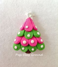 Polymer Clay Pendant Hair Bow Center Christmas by PegsClayGround