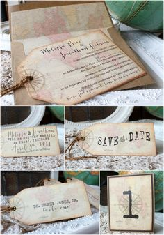 Antique World Map Tag Shaped Invitation Collection | Sunshine and Ravioli
