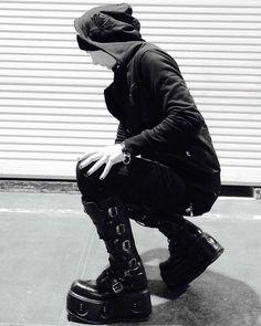 Posing in the night :-) Our Website: www.newrockaustralia.com  Models Instagram: @Sk8shoeking . .  #newrockaustralia #gothic #goth #gothguy #gothguy #gothicguys #gothicguy #newrock #newrocks #newrockshoes #newrockboots #allnewrock #cybergoth #cyberpunk #punk #punkrock #punkguy #punkfashion #punkguys #shoes #boots #boot #leather #leathergoods #selfie #metalguy #gothicboy #alternativeguy . . Facebook: www.facebook.com/newrockau  Twitter: www.twitter.com/newrockau  Pinterest… Punk Guys, Goth Guys, New Rock Boots, Cybergoth, Dark Fashion, Punk Rock, All Black Sneakers, Goth Style, Poses