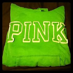 PINK (Victoria's Secret) hoodie Green hoodie by Pink (Victoria's Secret). Warm/comfy. Dog logo on left sleeve cuff. No holes, stains, etc. Gently worn, still in great condition though! PINK Victoria's Secret Tops Sweatshirts & Hoodies