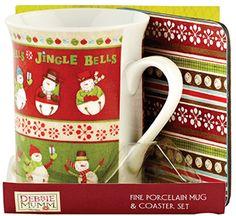 Christmas porcelain mug & coaster set