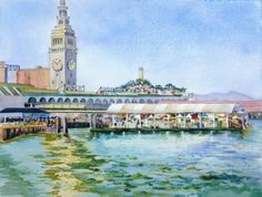Port of San Francisco   Port of San Francisco I did this painting en plein air from one of the piers near the Ferry Building in San Francisco. I was fascinated with the sparkling water and the many shade umbrellas out for the farmers market on a busy Saturday morning. The image extends to the edges of the paper. It will need a frame for display.  http://www.finelifeart.com/port-of-san-francisco/