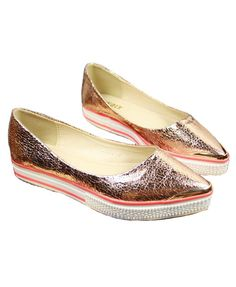 Golden Point Flatform Shoes with Snake Skin Print and Metal Tip