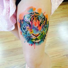 My beautiful watercolor tiger tattoo
