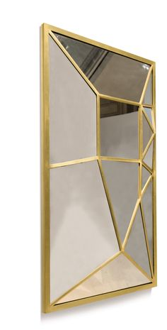 ELIZABETH GAROUSTE B. 1949 MIRROR Executed in 2007 in a limited edition of 8 examples, Mouvements Modernes Ed. mirror and iron with gold leaf 150 x 90 x 15 cm., 59 x 35 1/2  x 6 in.