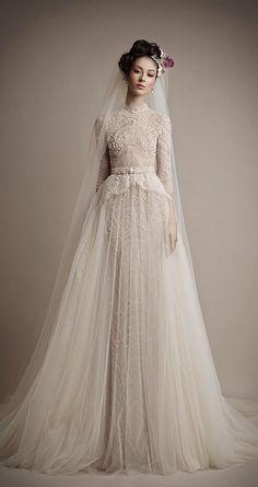 Ersa Atelier wedding gown with a high neckline // Top Wedding Dress Trends for 2015 - Part 2