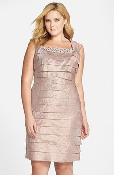 London Times Embellished Shimmering Tier Sheath Dress (Plus Size) Wedding Hairstyles With Crown, Best Wedding Colors, Plus Size Party Dresses, Lace Bridesmaids, Wedding Party Dresses, Sheath Dress, Plus Size Women, Vintage Dresses, Formal Dresses