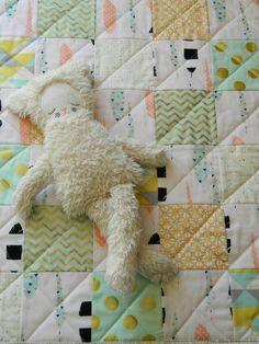FREE SHIPPING Aqua and Gold Feather Baby Doll Quilt by OwlMoonBaby