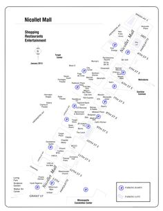 A map of all of the stores, restaurants, and businesses along Nicollet Avenue in Downtown Minneapolis | Minneapolis, Minnesota