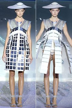 Hussain Chalayan's transforming dresses. Uses electronics to change the form…