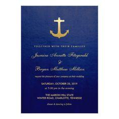 #Navy Blue Nautical Faux Gold Foil Anchor Wedding Card - #weddinginvitations #wedding #invitations #party #card #cards #invitation #modern