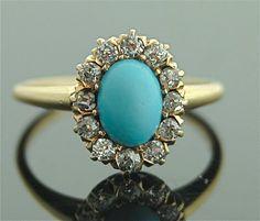 Antique Turquoise Ring - 14k Yellow Gold, Turquoise, Diamonds