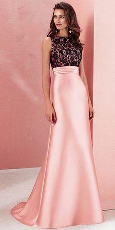 Wonderful Lace & Satin Bateau Neckline A-line Prom Dress