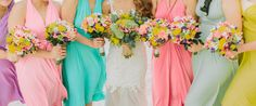 Bridesmaid Bouquet, Bridesmaid Dresses, Wedding Dresses, Wedding Album, Wedding Colors, Colorful, Island, Celebrities, Fun