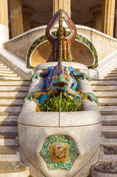 lizard in park Guell, Barcelona, Spain. Mosaic at the Parc Guell..