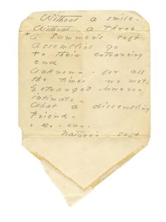 Without a smile - Without a Throe  Emily Dickinson,  Amherst Manuscript, pencil on Envelope