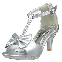 Girl's T-Strap Rhinestone Bow Open Toe High Heel Dress Shoes Silver Size 10-4 little girls shoes footwear pageant special occasion