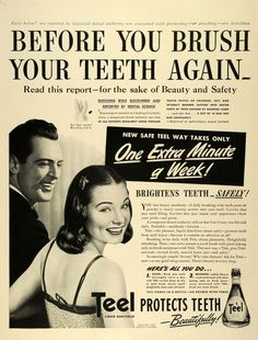 World War II era print ad for Teel, a liquid dentifrice by Procter and Gamble.