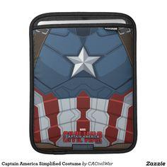 Captain America Simplified Costume iPad Sleeves. Regalos, Gifts. #fundas #sleeves