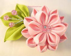Handmade Kanzashi ladies women large PURPLE hair clip bow-buy