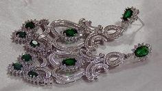 Chandelier Cross Earring 925 Silver Green Gemstone Women Beautiful Gift Genuine