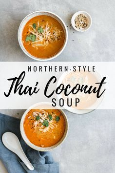This northern-style vegan thai coconut soup recipe is a healthy and easy meal that is made with Thai curry and loaded with noodles Maybe add baby corn and mushrooms? Coconut Soup Recipes, Thai Coconut Soup, Veggie Recipes, Asian Recipes, Vegetarian Recipes, Cooking Recipes, Healthy Recipes, Thai Cooking, Cheap Recipes