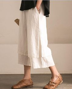 Elastic Waist Layered Linen Pants Womans Casual Trousers    #trousers #white #linen #black #layered #pants #summer #amazing