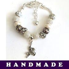 White and Silver European Style Charm Bracelet With Tibetan Silver Pegasus Charm | eBay