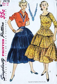 1950s Misses Blouse and Skirt Vintage Sewing Pattern, 3 Tier Skirt, Squaw Skirt, Rockabilly, Broom Skirt, Simplicity 3978 Bust 32