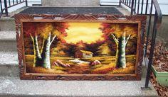 Extra large Velvet Painting, Carved Wood frame, Vintage Painting on Black Velvet of Log Cabin, Fall Colors Birch trees, Cabin Man Cave decor by UpcycledCottageDecor on Etsy