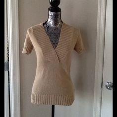 J.Crew short sleeve sweater Beige v-neck sweater. 100% cotton J. Crew Sweaters