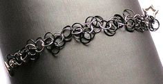 Chainmaille Bracelet - Shaggy Big Loop in Silver / Black with Star Toggle Clasp - Enchanted Moon