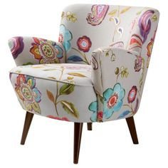 Grace your living space with this adorable accent chair. Featuring splashes of bright colors against a creamy background, this modern floral chair brightens up any room. The cotton upholst Floral Accent Chair, Grey Accent Chair, Floral Chair, Colorful Accent Chairs, Grey Chair, Living Room Chairs, Living Room Furniture, Home Furniture, Online Furniture