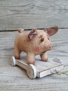 Vintage Style Plush Powder colour Pig on wooden cart