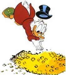 Hij zwemt in het geld