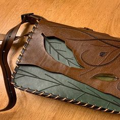 Brown and Green Leather Bag for Women Large Messenger Bag with Green Leaf Design Brown Crossbody Bag Natural Leather Shoulder Bag - Floral Necklace, Rose Necklace, Necklace Chain, Brown Leather Sandals, Green Leather, Embroidery Jewelry, Floral Embroidery, Leather Bags Handmade, Handmade Wooden