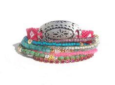 Bohemian friendship bracelet stack - Ibiza jewelry - boho chic armparty - multiple strands beaded bracelet