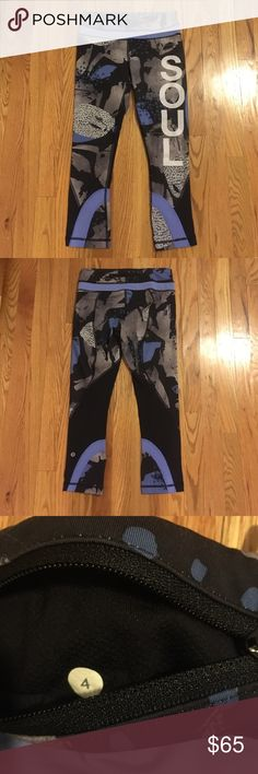 Lululemon run inspires with SOUL on leg Great condition! Back zipper at top of pants! Colors are blue, gray and black! lululemon athletica Pants
