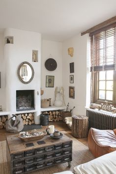 Beautiful rustic sitting room - lots of textures with a simple natural palette
