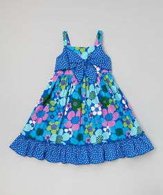 Another great find on #zulily! Blue Floral Bow A-Line Dress - Toddler & Girls #zulilyfinds
