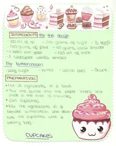 Recipe for Cupcakes. Yummy Yummy!!! 2013
