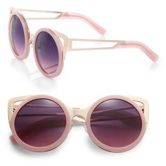 Erdem Metal-Trimmed Round Sunglasses ($685) ❤ liked on Polyvore featuring accessories, eyewear, sunglasses, glasses, очки, apparel & accessories, lilac, round lens sunglasses, round sunglasses and round frame sunglasses