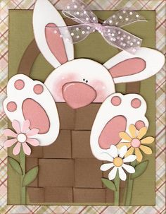 handmade Bunny card ... punch art ... adorable bunny in an Easter basket ...