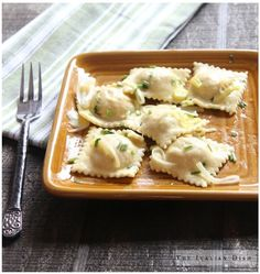 Salmon Ravioli/ I didn't have any fresh herbs so I omitted those and added some garlic to the filling. My husband does not care for salmon and he really liked these!