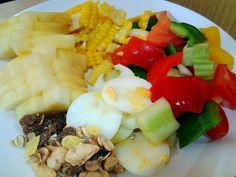 veggie salad , mulie , pineapple , egg white
