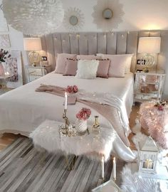 Cozy Romantic Bedroom decor with wide channel tufted bed and pink accents. White and pink bedroom Romantic Bedroom Decor, Bedroom Decor For Teen Girls, Teen Room Decor, Trendy Bedroom, Home Decor Bedroom, Modern Bedroom, Bedroom Ideas, Contemporary Bedroom, Bedroom Apartment