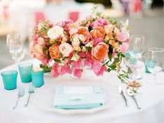 #tablescapes, #centerpiece  Photography: Ryan Ray  - ryanrayphoto.com/  Read More: http://www.stylemepretty.com/2014/08/13/carnival-inspired-wedding-full-of-color/