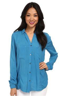 VELVET By Graham & Spencer Arianne Long Sleeve Button Up Blouse Top Blue S $138 #VelvetbyGrahamSpencer #ButtonDownShirt #Casual
